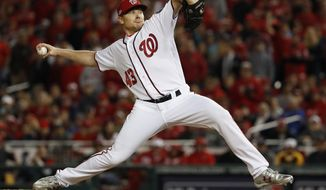 FILE - In a Thursday, Oct. 13, 2016 file photo, Washington Nationals relief pitcher Mark Melancon throws to a Los Angeles Dodgers batter during the eighth inning of Game 5 of a baseball National League Division Series, at Nationals Park, in Washington. The San Francisco Giants said Monday, Dec. 5, 2016, that they have agreed to a $62 million, four-year contract with closer Mark Melancon, pending a physical. (AP Photo/Pablo Martinez Monsivais, File)