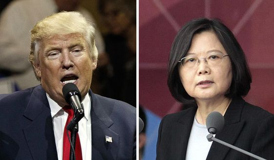 "This combination of two photos shows U.S. President-elect Donald Trump, left, speaking during a ""USA Thank You"" tour event in Cincinatti Thursday, Dec. 1, 2016, and Taiwan's President Tsai Ing-wen, delivering a speech during National Day celebrations in Taipei, Taiwan, Monday, Oct. 10, 2016. Trump spoke Friday, Dec. 2, with Tsai, a move that will be sure to anger China. (AP Photo/Evan Vucci, Chinag Ying-ying, File)"