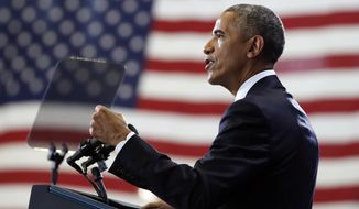 President Barack Obama speaks at MacDill Air Force Base in Tampa, Fla., Tuesday, Dec. 6, 2016, about the administration's approach to counterterrorism campaign. (AP Photo/Carolyn Kaster)