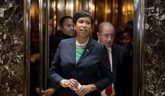 Washington Mayor Muriel Bowser departs the Trump Tower in New York, Monday, Dec. 6, 2016, after meeting with President-elect Donald Trump. (AP Photo/Andrew Harnik) ** FILE **