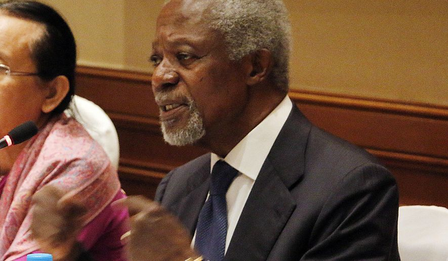 Former U.N. Secretary-General Kofi Annan, chairman of the advisory commission on Rakhine State, talks to journalists during a press briefing at a hotel Tuesday, Dec. 6, 2016, in Yangon, Myanmar. (AP Photo/Thein Zaw)