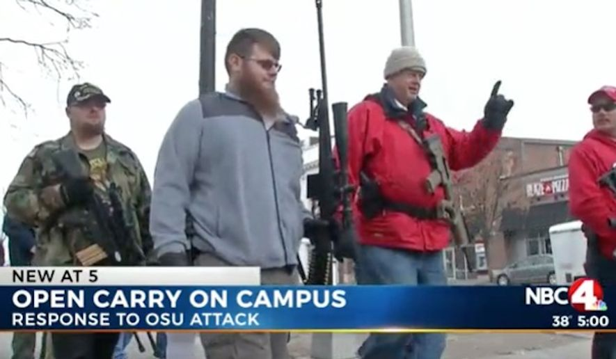 More than a dozen gun rights advocates held an open carry walk Monday at Ohio State University in response to last week's knife attack by an Islamic extremist. (WCMH)
