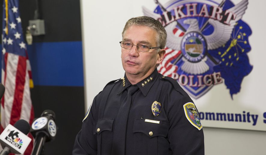 Elkhart Police Chief Ed Windbigler speaks during a press conference Tuesday, Dec. 6, 2016 at the Elkhart Police Department in Elkhart, Ind., regarding the fatal shooting of  Norman Gary, 29, by police. Windbigler identified the two officers involved as Sgt. Nathan Lanzen and Cpl. Leonard Dolshenko. The incident remains under investigation by Indiana State Police, according to police officials. (Sam Householder/The Elkhart Truth via AP)
