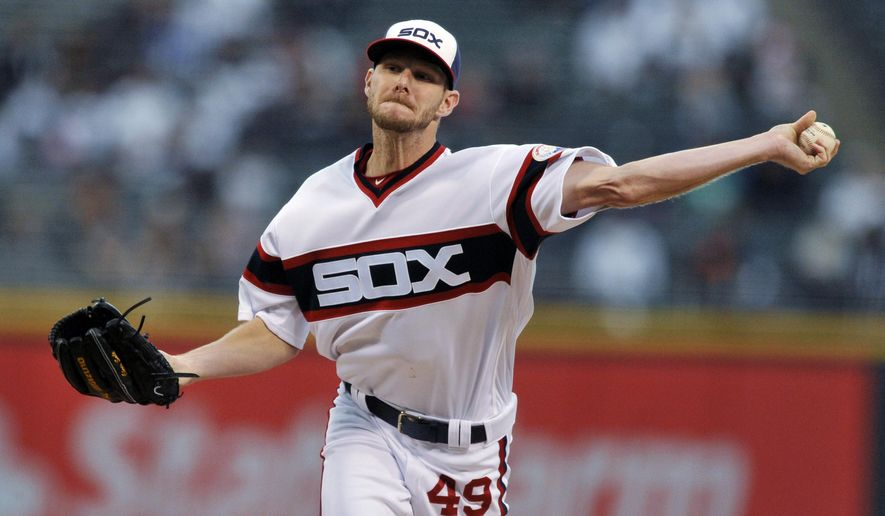 FILE - In this Oct. 2, 2016, file photo, Chicago White Sox starter Chris Sale delivers a pitch during a baseball game against the Minnesota Twins in Chicago. A person familiar with the trade tells The Associated Press that the Boston Red Sox have gotten star pitcher Chris Sale from the Chicago White Sox. The person spoke on condition of anonymity Tuesday, Dec. 6, 2016,  because the trade hadn't been announced. (AP Photo/Paul Beaty, File)