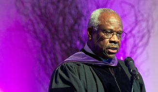 "The Smithsonian museum still has ""no plans"" to include in its exhibitions a reference to Supreme Court Justice Clarence Thomas, one of the high court's conservative stalwarts who celebrates his 25th anniversary on the bench this year. (Associated Press) ** FILE **"