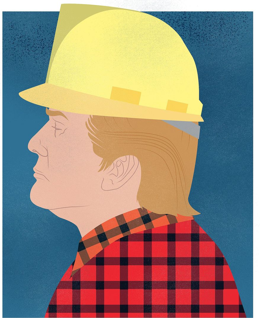 """Illustration on Trump and the """"blue collar"""" American by Linas Garsys/The Washington Times"""