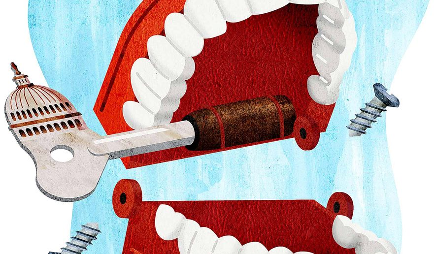 Chattering Filibuster Teeth Unhinged Illustration by Greg Groesch/The Washington Times