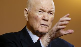 John Glenn, former U.S. senator and astronaut, speaks during an exclusive interview with The Associated Press at the Ohio Statehouse, in Columbus, Ohio, on May 14, 2015. (Associated Press) **FILE**