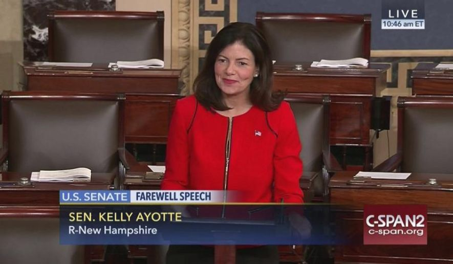 This image provided by C-SPAN2 shows Sen. Kelly Ayotte, R-N.. giving her farewell speech on the Senate floor on Capitol Hill in Washington, Wednesday, Dec. 7, 2016. (C-SPAN2 via AP) **FILE**