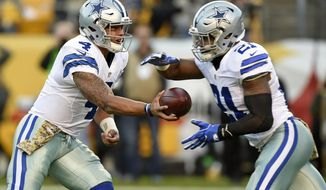 FILE - In this Sunday, Nov. 13, 2016 file photo, Dallas Cowboys quarterback Dak Prescott (4) hands the ball off to running back Ezekiel Elliott (21) during the first half of an NFL football game against the Pittsburgh Steelers in Pittsburgh. Rookie sensations Dak Prescott and Ezekiel Elliott made the playoffs with four games to spare in Dallas. The Cowboys and their young stars could clinch everything else, topped by home-field advantage throughout the playoffs with three games remaining if they beat the New York Giants on Sunday night, Dec. 11, 2016 and get some help. (AP Photo/Don Wright, File)
