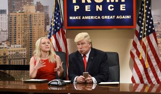 "This Dec. 3, 2016, image released by NBC shows Kate McKinnon as Kellyanne Conway, left, and Alec Baldwin as President-elect Donald Trump during ""Saturday Night Live,"" in New York. (Will Heath/NBC via AP) ** FILE **"