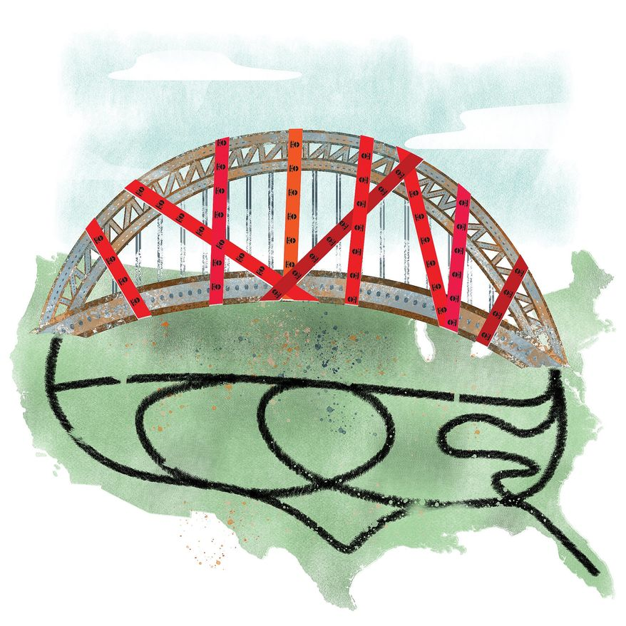 Illustration on government regulatory obstacles to infrastructure construction by Linas Garsys/The Washington Times