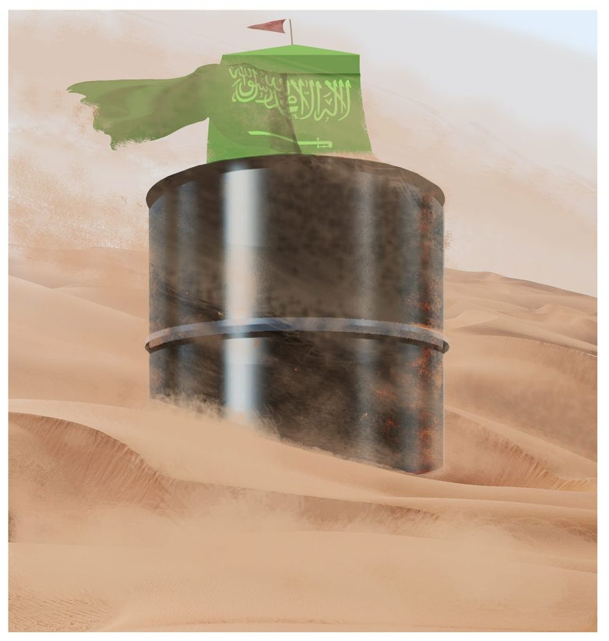 Illustration on Saudi Arabia's growing troubles by Alexander Hunter/The Washington Times