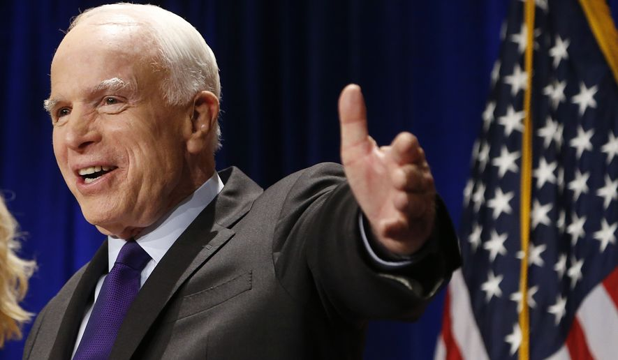 """I don't know, frankly, what Donald Trump wants to do [about Iran], but I do know the people he has selected so far for major positions I've been very pleased to see,"" said Sen. John McCain, Arizona Republican. (Associated Press)"