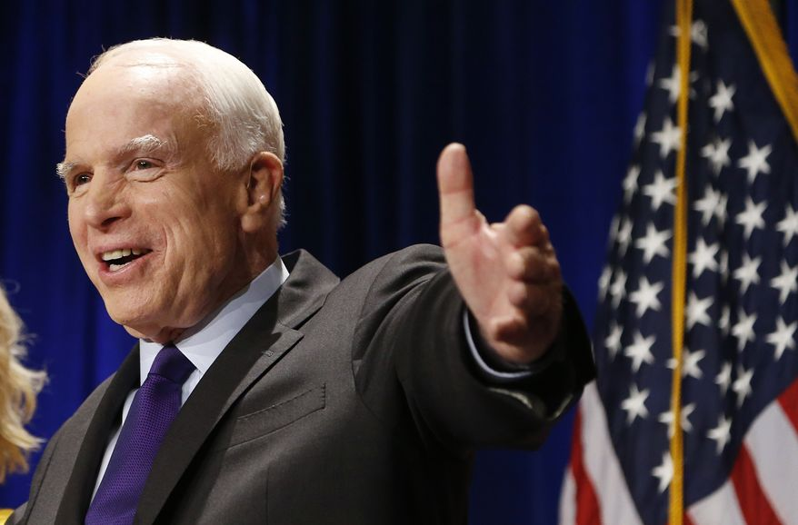 """""""I don't know, frankly, what Donald Trump wants to do [about Iran], but I do know the people he has selected so far for major positions I've been very pleased to see,"""" said Sen. John McCain, Arizona Republican. (Associated Press)"""