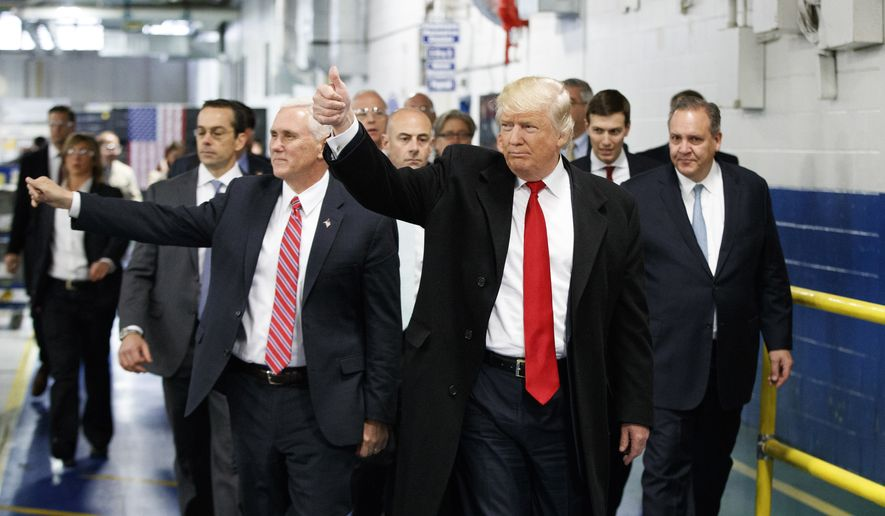 "In this Thursday, Dec. 1, 2016, file photo, President-elect Donald Trump and Vice President-elect Mike Pence wave as they visit to Carrier factory, in Indianapolis, Ind. Trump is slamming a union leader who criticized his deal to discourage air conditioner manufacturer Carrier Corp. from closing an Indiana factory and moving its jobs to Mexico. Trump tweeted Wednesday evening, Dec. 7, 2016: ""Chuck Jones, who is President of United Steelworkers 1999, has done a terrible job representing workers."" (AP Photo/Evan Vucci, File)"