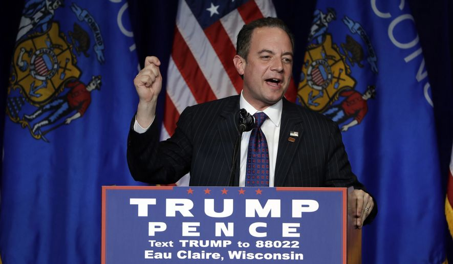 FILE - In this Republican National Committee (RNC) Chairman Reince Priebus campaigns for then-Republican presidential candidate Donald Trump during a rally at the University of Wisconsin Eau Claire, in Eau Claire, Wis. When now-President-elect Donald Trump tapped Priebus as his chief of staff, Republican leaders welcomed the prospect of a close ally having a top White House job. But as Priebus moves to consolidate power, he's frustrating some long time Trump loyalists who believe he's too conventional a pick for an unconventional president. (AP Photo/Matt Rourke, File)