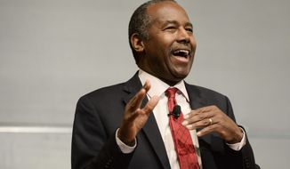 Yale University alumnus Dr. Benjamin Carson, President-elect Donald Trump's pick for secretary of the U.S. Department of Housing and Urban Development, speaks at Yale, Thursday, Dec. 8 as a guest of the William F. Buckley Jr. Program at Yale. (AP Photo/Stephen Dunn)