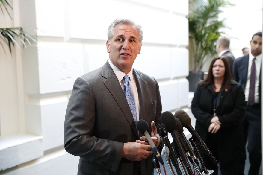 FILE - In this Nov. 17, 2016, file photo, House Majority Leader Kevin McCarthy of Calif. speaks to reporters on Capitol Hill in Washington. President-elect Donald Trump's plan to use steep tariffs to punish companies that move overseas is running into an obstacle: Congressional Republicans. McCarthy warned Dec. 5 that such an approach could cause a trade war. (AP Photo/Alex Brandon, File)