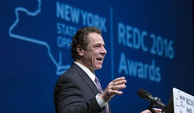 New York Gov. Andrew Cuomo speaks during an economic development awards ceremony on Thursday, Dec. 8, 2016, in Albany, N.Y. (AP Photo/Mike Groll)