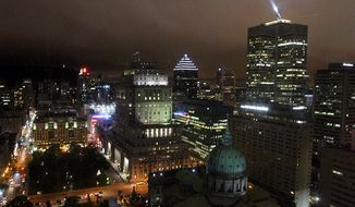 Montreal at night from the Marriott Chateau Champlain (Photograph by Jacquie Kubin / Special to The Washington Times)