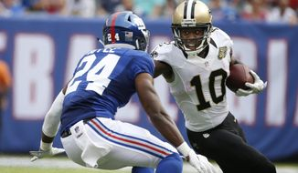 FILE - In this Sunday, Sept. 18, 2016 file photo, New Orleans Saints wide receiver Brandin Cooks (10) runs away from New York Giants' Eli Apple (24) during the second half of an NFL football game in East Rutherford, N.J. Cooks, who expressed unhappiness about not having a pass thrown to him during a Week 12 victory over Los Angeles, does not believe his comments upset the chemistry of the offense in a loss to Detroit last Sunday, Dec. 4, 2016. (AP Photo/Kathy Willens, File)