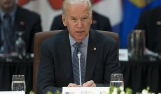 U.S. Vice-President Joe Biden speaks at the First Ministers' and National Indigenous Leaders' meeting in Ottawa, on Friday, Dec. 9, 2016.    (Adrian Wyld/The Canadian Press via AP)
