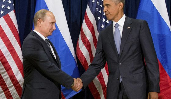 FILE - In this Sept. 28, 2015 file photo, President Barack Obama shakes hands with Russian President President Vladimir Putin before a bilateral meeting at United Nations headquarters. Obama has ordered intelligence officials to conduct a broad review on the election-season hacking that rattled the presidential campaign and raised new concerns about foreign meddling in U.S. elections, a White House official said Friday.  White House counterterrorism and Homeland Security adviser Lisa Monaco said Obama ordered officials to report on the hacking of Democratic officials' email accounts and Russia's involvement.  (AP Photo/Andrew Harnik, File)
