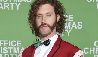 """FILE - This Dec. 7, 2016 file photo shows T.J. Miller at the Los Angeles premiere of """"Office Christmas Party."""" Los Angeles police say Miller was arrested early Friday, Dec. 9, after a driver accused him of battery. Miller was released on his own recognizance and his arrest will not affect his hosting duties for Sunday's Critics' Choice Awards. (Photo by Jordan Strauss/Invision/AP)"""