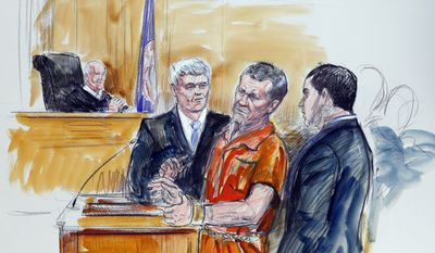 FILE- This Nov. 7, 2014, artist rendering shows, Irek Hamidullin, front center, his attorney Robert Wagner, front left, and interpreter Ihab Samra, front right, as Judge Henry Hudson, left, listens in Federal Court in Richmond, Va. The 4th U.S. Circuit Court of Appeals will hear arguments Friday, Dec. 9, 2016, in the case of Hamidullin. Hamidullin was accused of leading insurgents in a 2009 attack on U.S. forces in Afghanistan. He was sentenced last year to life in prison. (AP Photo/Dana Verkouteren, File)