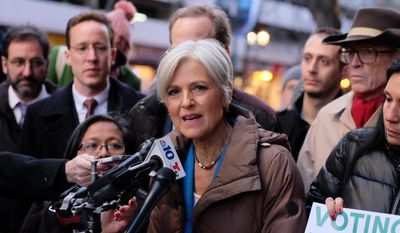 Green Party candidate Jill Stein holds a press conference at the federal courthouse in Philadelphia after a hearing on the Green Party's request for a statewide recount, Friday, Dec. 9, 2016. (Ed Hille/The Philadelphia Inquirer via AP) ** FILE **