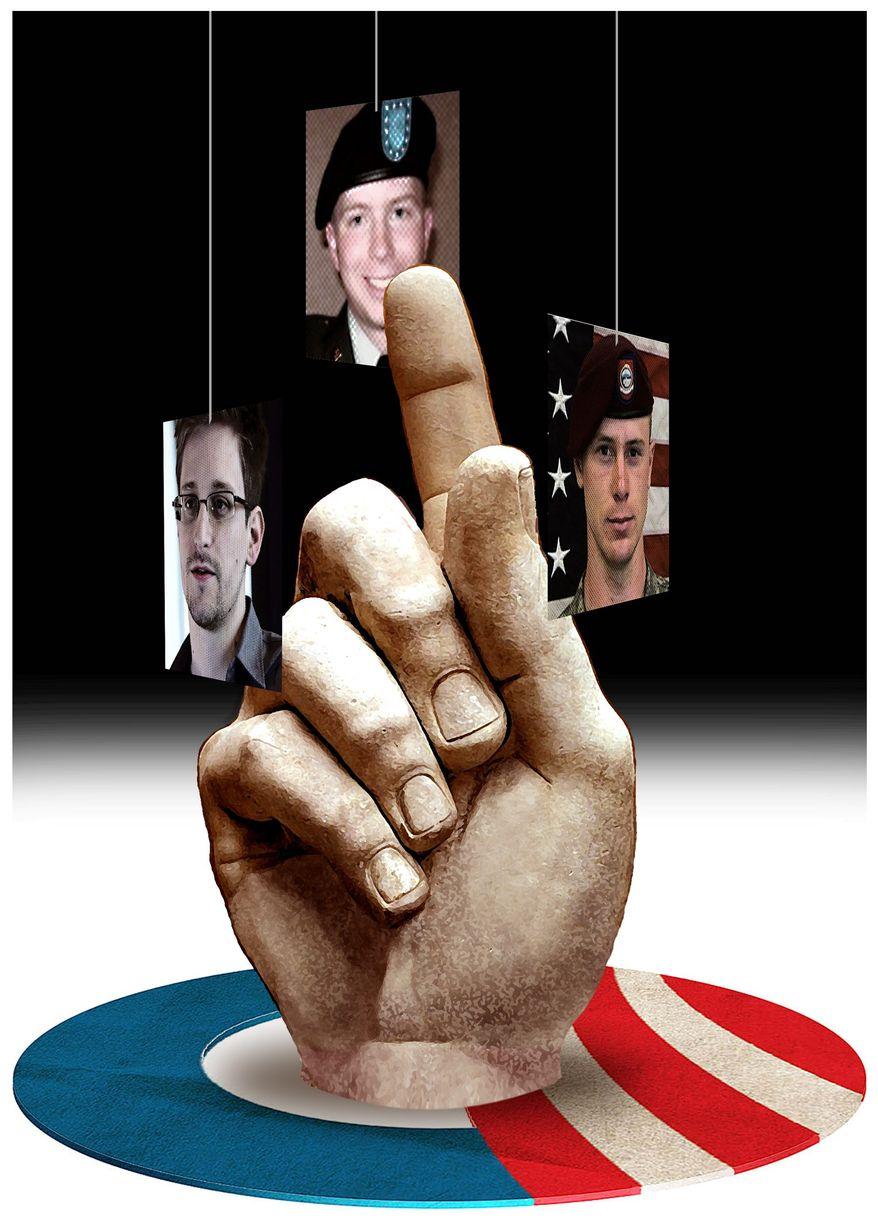 Illustration on potential Obama pardons by Alexander Hunter/The Washington Times