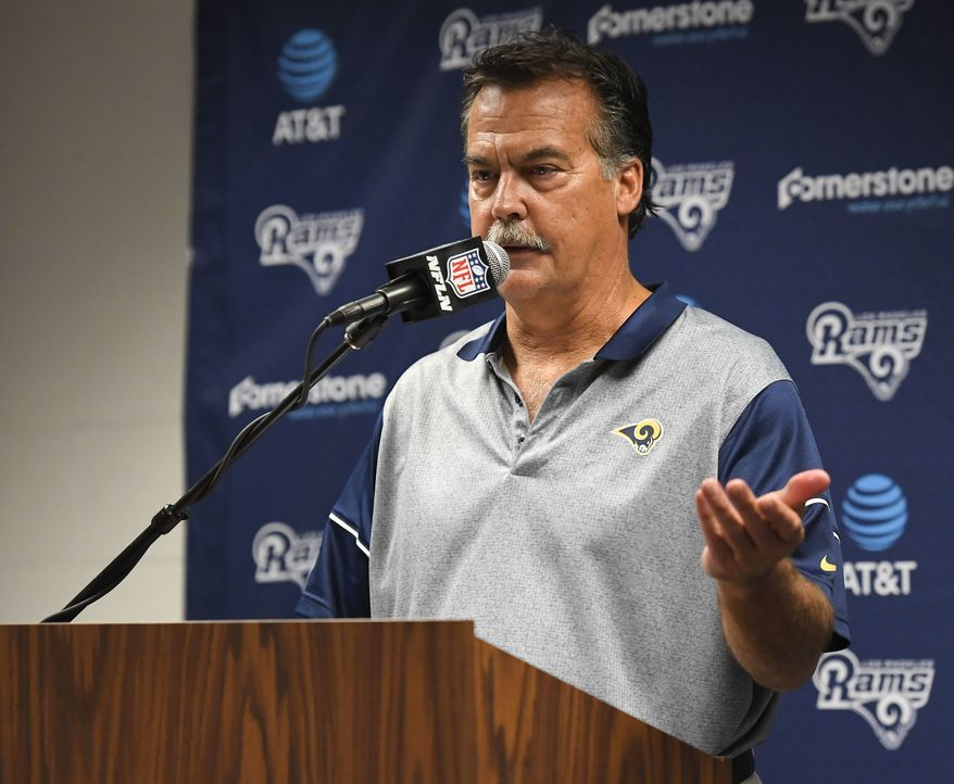 Los Angeles Rams head coach Jeff Fisher talks during a news conference after an NFL football game against the Atlanta Falcons Sunday, Dec. 11, 2016, in Los Angeles. (AP Photo/Mark J. Terrill)