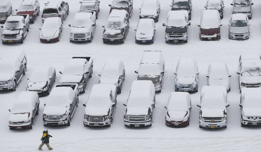 A fan makes his way to Lambeau Field in the snow before an NFL football game between the Green Bay Packers and the Seattle Seahawks on Sunday, Dec. 11, 2016, in Green Bay, Wis. (AP Photo/Mike Roemer)