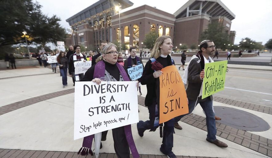 """Demonstrators at Texas A&M University during a recent protest against the """"alt-right"""". (AP Photo by David J. Philip)"""