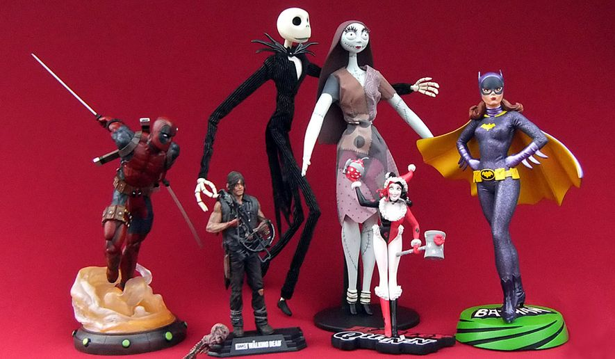 Gift ideas for pop culture collectors include Diamond Select's Marvel Gallery Deadpool, McFarlane Toys' Red Wave Daryl Dixon, Diamond Select's Jack and Sally Doll Set, DC Collectibles' Holiday Harley and Diamond Select's Premiere Batgirl. (Photograph by Joseph Szadkowski / The Washington Times)