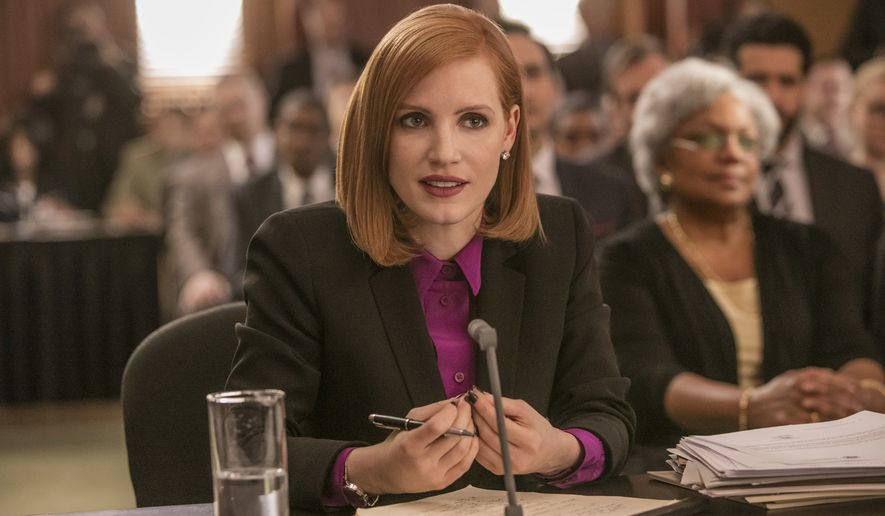 "This image released by Europa shows Jessica Chastain in a scene from, ""Miss Sloane."" Chastain was nominated for a Golden Globe award for best actress in a motion picture drama for her role in the film on Monday, Dec. 12, 2016. The 74th Golden Globe Awards ceremony will be broadcast on Jan. 8, on NBC. (Kerry Hayes/Europa via AP)"