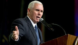Vice President-elect Mike Pence speaks at the Indiana Governor's Luncheon for Scouting in Indianapolis, Monday, Dec. 12, 2016. (AP Photo/Michael Conroy)