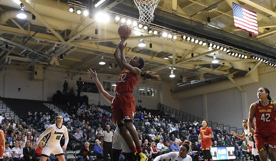 Maryland's Shatori Walker-Kimbrough, center, score against Loyola during the first half of an NCAA college basketball game, Monday, Dec. 12, 2016 in Baltimore. (AP Photo/Gail Burton)