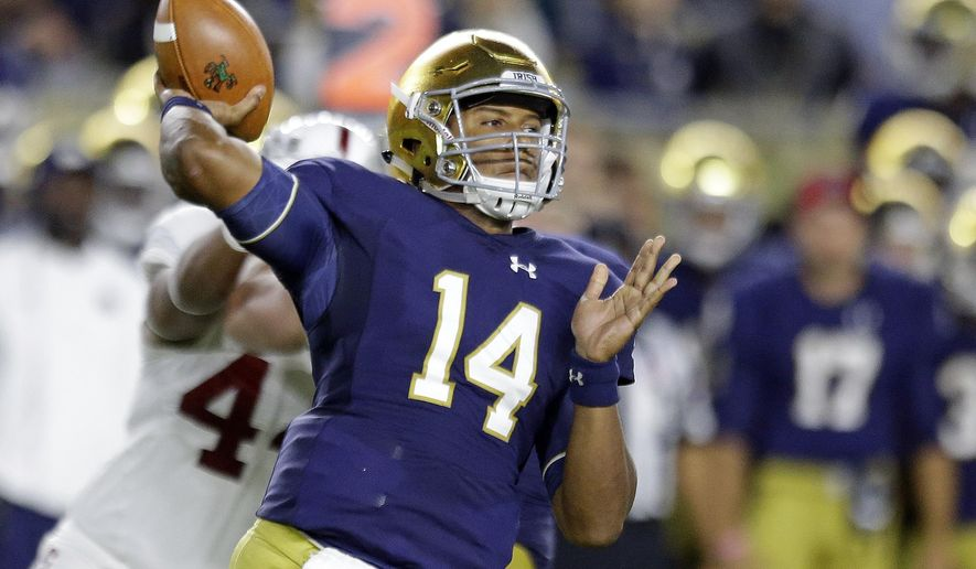 FILE - In this Oct. 15, 2016, file photo, Notre Dame quarterback DeShone Kizer (14) throws against Stanford during the first quarter of an NCAA college football game in South Bend, Ind. Kizer declared for the NFL draft, Monday, Dec. 12, 2016. The 6-foot-4, 230-pound Kizer could end up being the first quarterback selected in the draft in April. (AP Photo/Michael Conroy, File)