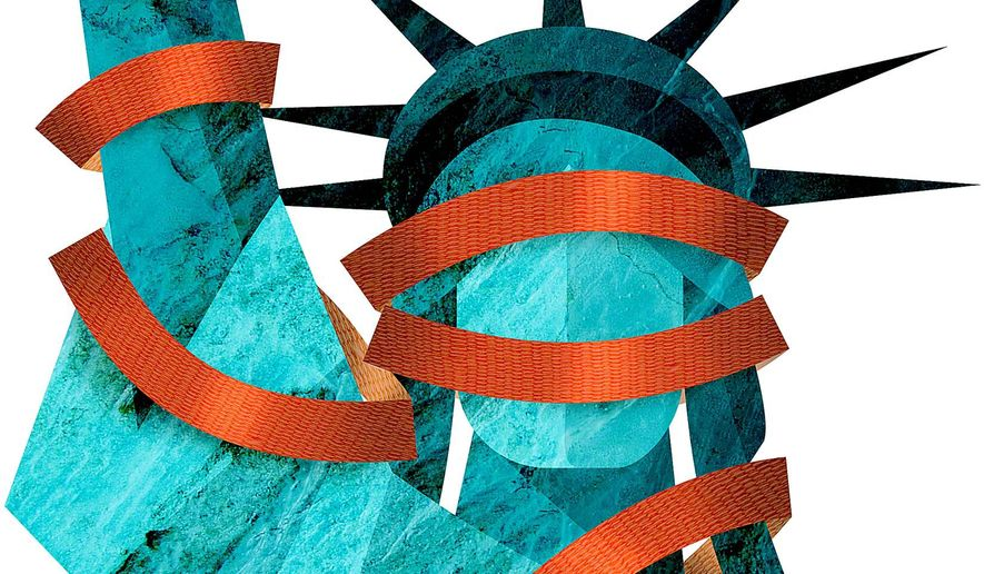 Liberty Draped in Red Tape Regulations Illustration by Greg Groesch/The Washington Times
