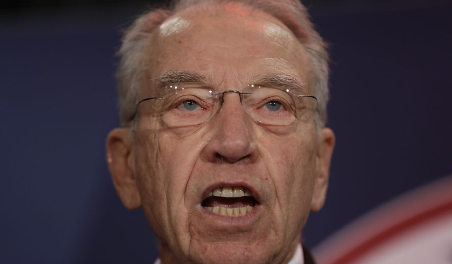 """I don't take lightly making a criminal referral,"" said Senate Judiciary Committee Chairman Sen. Chuck Grassley. ""But, the seeming disregard for the law by these entities has been fueled by decades of utter failure by the Justice Department to enforce it."" (Associated Press)"