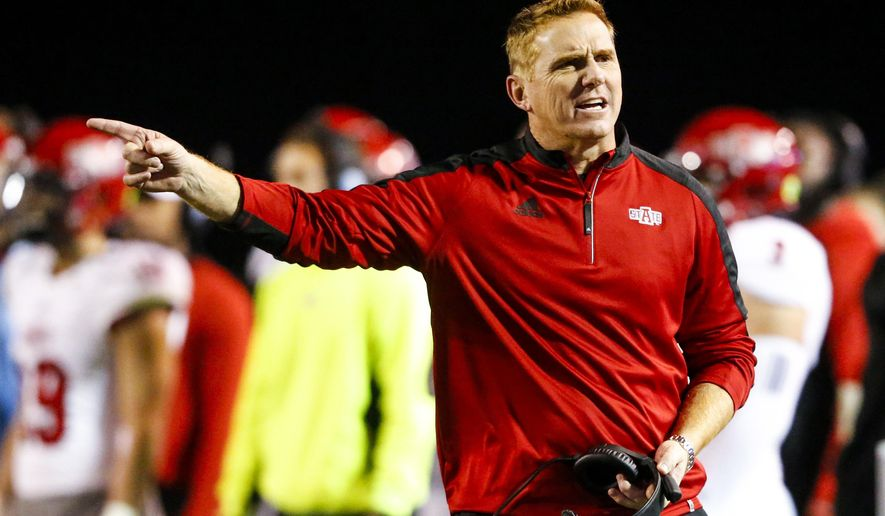 FILE - In this Nov. 17, 2016, file photo, Arkansas State coach Blake Anderson reacts to a call during the second half of the team's NCAA college football game against Troy, in Troy, Ala. Arkansas State has experienced its share of success lately, having won at least a share of the Sun Belt Conference championship in five of the last six seasons. After recovering from an 0-4 start to this season, the Red Wolves hope to extend that success out of their own league when they face Central Florida in the Cure Bowl on Saturday (AP Photo/Butch Dill, File)