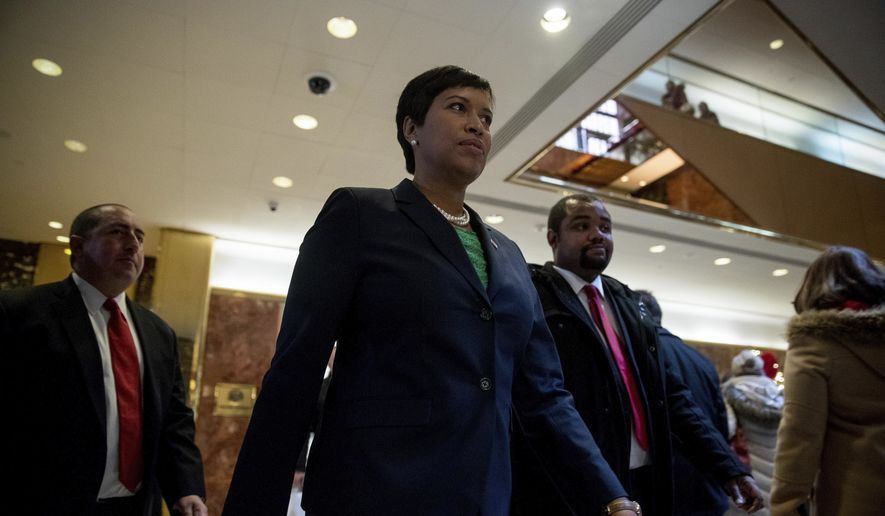Washington Mayor Muriel Bowser leaves after a meeting with President-elect Donald Trump at Trump Tower in New York, Tuesday, Dec. 6, 2016. (AP Photo/Andrew Harnik)