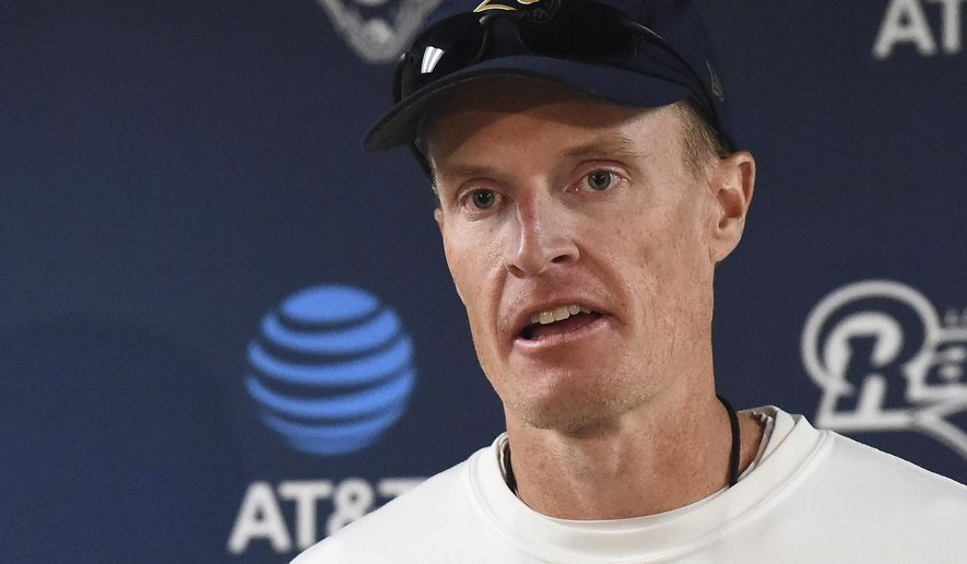 Los Angeles Rams interim head coach John Fassel addresses the media at the team's training facility at California Lutheran University in Thousand Oaks, Calif., Monday, Dec. 12, 2016. Fassel, the team's special teams coach, will replace Jeff Fisher on an interim basis for the final three games of this season. The team's coach since 2012, Fisher compiled a 31-45-1 record with the Rams and oversaw the move from St. Louis to Los Angeles this past offseason. (AP Photo/Jayne Kamin-Oncea)