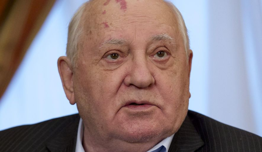 In this photo taken Friday, Dec. 9, 2016, photo former Soviet President Mikhail Gorbachev speaks to the Associated Press during an interview at his foundation's headquarters in Moscow, Russia. Gorbachev said the West has wasted a chance to build a safer world after the Cold War while the U.S. has gloated at the Soviet Union's demise. (AP Photo/Ivan Sekretarev)