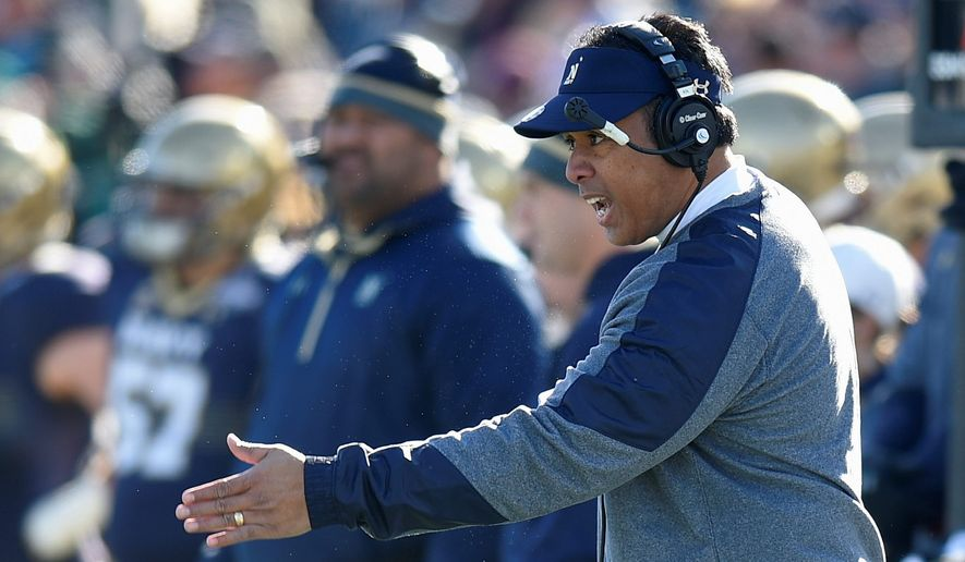 Coach Ken Niumatalolo leads Navy into the Armed Forces Bowl against Louisiana Tech on Dec. 23. (ASSOCIATED PRESS)