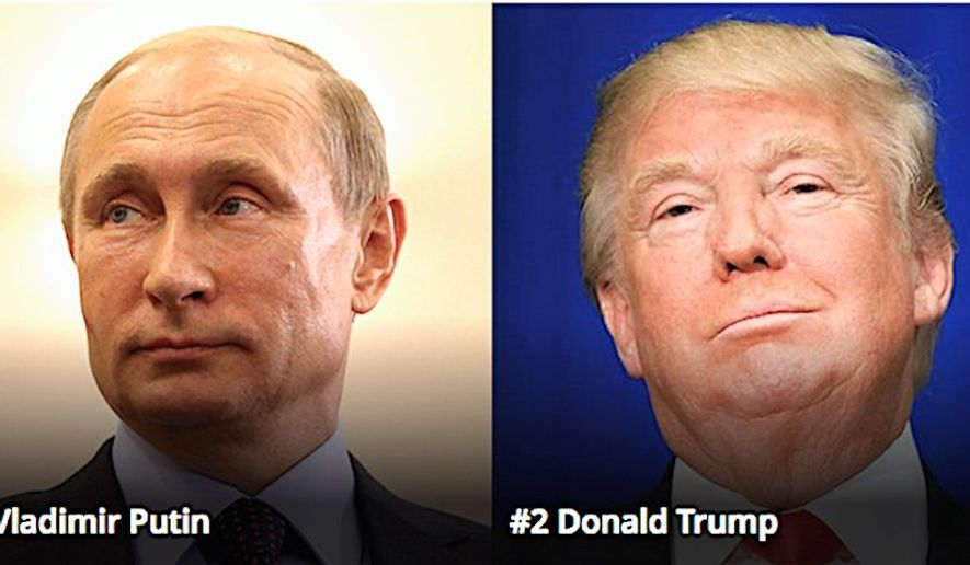 "Russia President Vladimir Putin and President-elect Donald Trump are first and second on Forbes' list of ""The World's Most Powerful People."" (Forbes)"