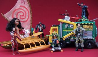 Gift ideas for action-figure ' fans include Iron Man and Spider-Man from Marvel's Captain America: Civil War Legend Pack, Moana, Starlight Canoe & Friends Venom from Ultimate Spider-Man vs. The Sinister 6 Web City set, Teenage Mutant Ninja Turtles' Turtle Tactical Truck, DC Films Superman and Ghostbuster's Quittin' Time Ray. (Photograph by Joseph Szadkowski / The Washington Times)