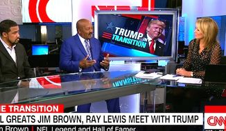 "NFL great Jim Brown told CNN on Dec. 13, 2016, that he ""fell in love"" with President-elect Donald Trump after an extended meeting behind closed doors. (CNN screenshot)"